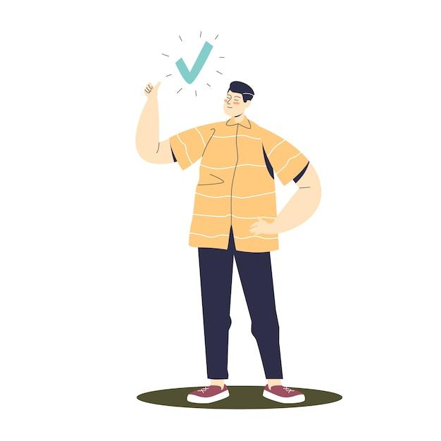 Hombre señalando con el dedo en la marca de verificación. Vector Premium
