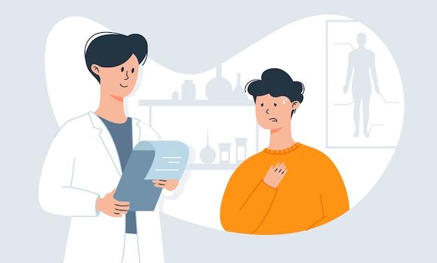 Hombre con síntomas de resfriado (tos y temperatura alta) en la cita con el médico. inmunidad débil e infecciones virales. Vector Premium