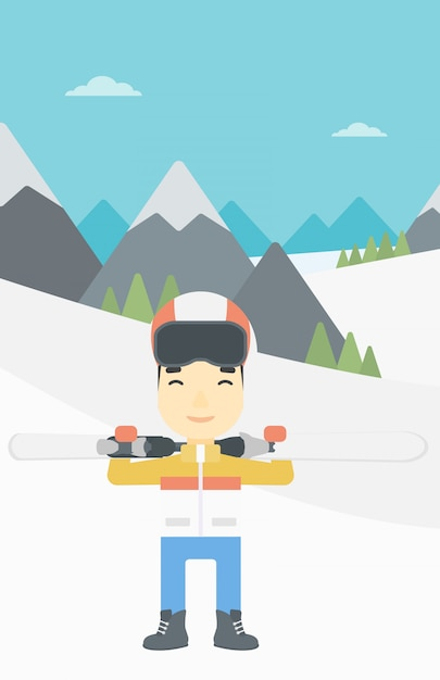 Hombre sosteniendo esquís ilustración vectorial Vector Premium