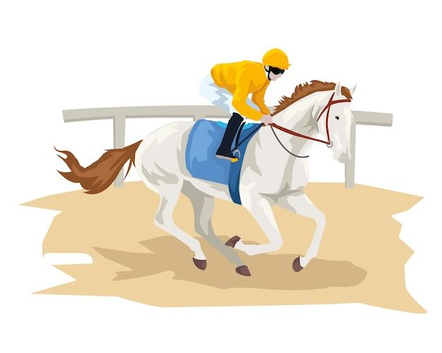 Hombre con su caballo en la pista de carreras Vector Premium