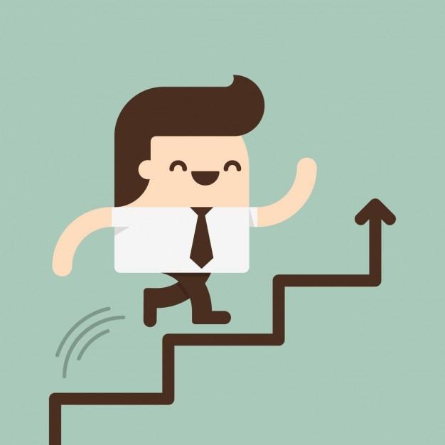 Hombre subiendo por unas escaleras vector gratuito