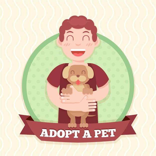 Hombre sujetando el concepto de perro adoptado vector gratuito