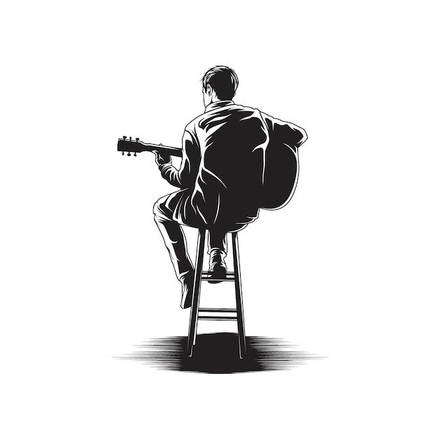 Hombre tocando la guitarra ilustración Vector Premium