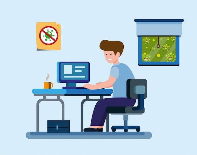 El hombre trabaja desde su casa para protegerse de la infección por virus, oficinista o estudiante en actividades de cuarentena en el vector de dibujos animados plana ilustrtion Vector Premium