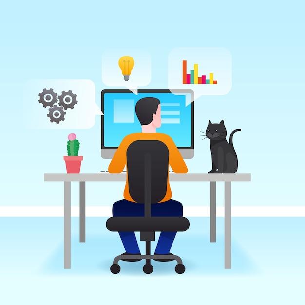 Hombre trabajando desde casa concepto vector gratuito