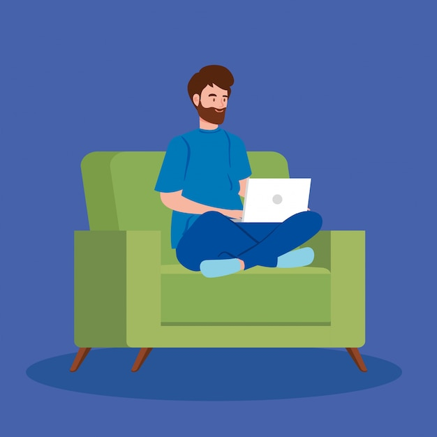 Hombre trabajando en teletrabajo con laptop en sofá vector gratuito