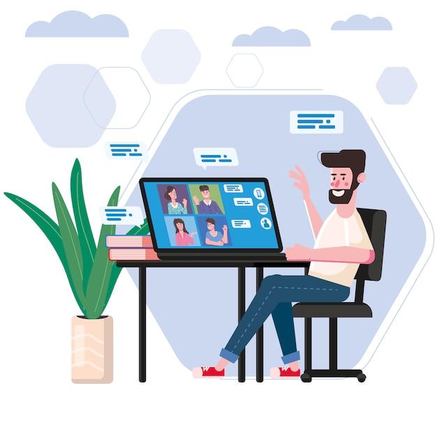 El hombre trabajó desde casa personas de videoconferencia en la pantalla de la computadora portátil hablando por internet en videollamada, chat Vector Premium