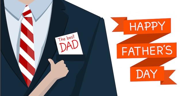 Hombre con traje y mano hijo como papel el mejor papá Vector Premium