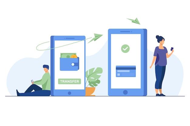 Hombre transfiriendo dinero a la mujer a través de un teléfono inteligente. en línea, transacciones, banca ilustración vectorial plana. concepto de tecnología digital y finanzas vector gratuito