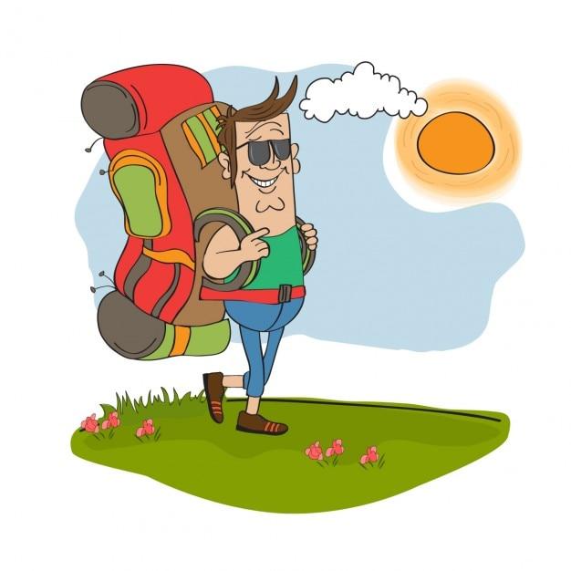 hombre turista viajando con mochila descargar vectores backpack clipart school backpacking clip art