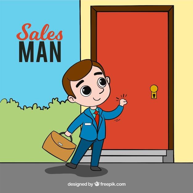 Hombre de ventas tocando en puerta vector gratuito