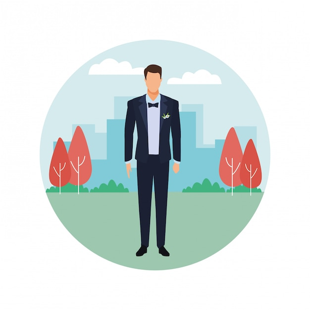 Hombre vestido con esmoquin icono redondo Vector Premium