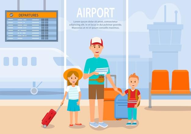 Hombre viaja con niño y niña en avión. aeropuerto. Vector Premium