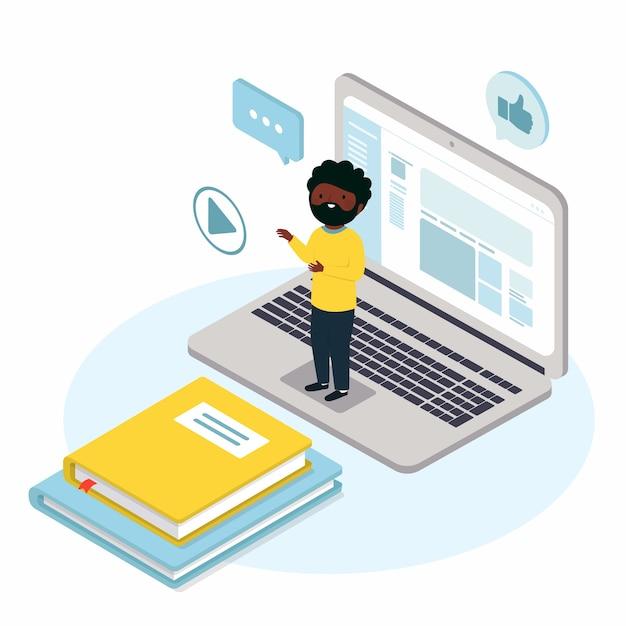 Hombre virtual en la computadora portátil que enseña en línea vector gratuito