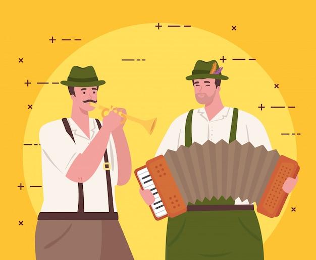 Hombres alemanes en traje nacional con acordeón y trompeta, grupo masculino en traje tradicional bávaro, diseño de ilustraciones vectoriales Vector Premium