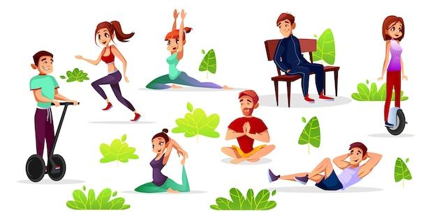 Hombres de dibujos animados, mujeres haciendo deportes en el parque. vector gratuito