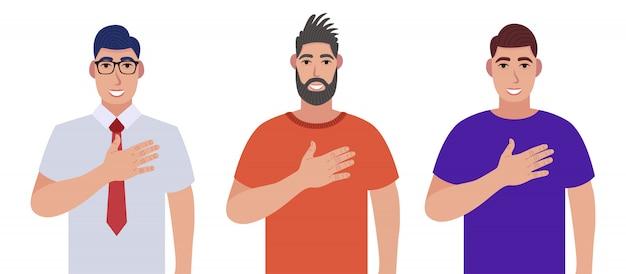 Los hombres expresan sus sentimientos positivos a las personas, mantengan las manos sobre el pecho o el corazón. conjunto de caracteres Vector Premium