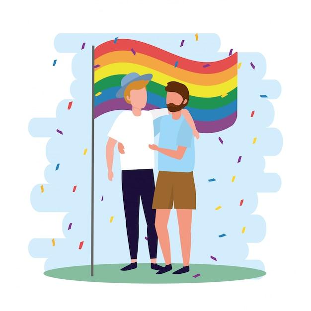 Los hombres se juntan con la bandera del arco iris al desfile lgbt Vector Premium