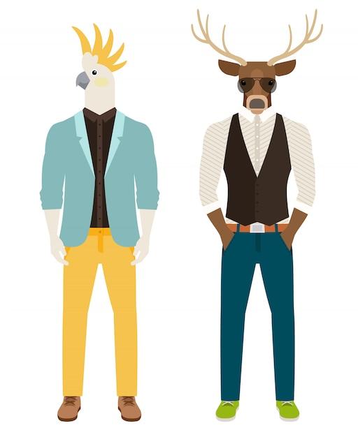 Hombres con loros y cabezas de ciervo. Vector Premium