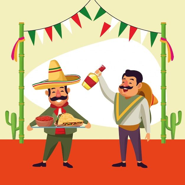 Hombres mexicanos de dibujos animados Vector Premium