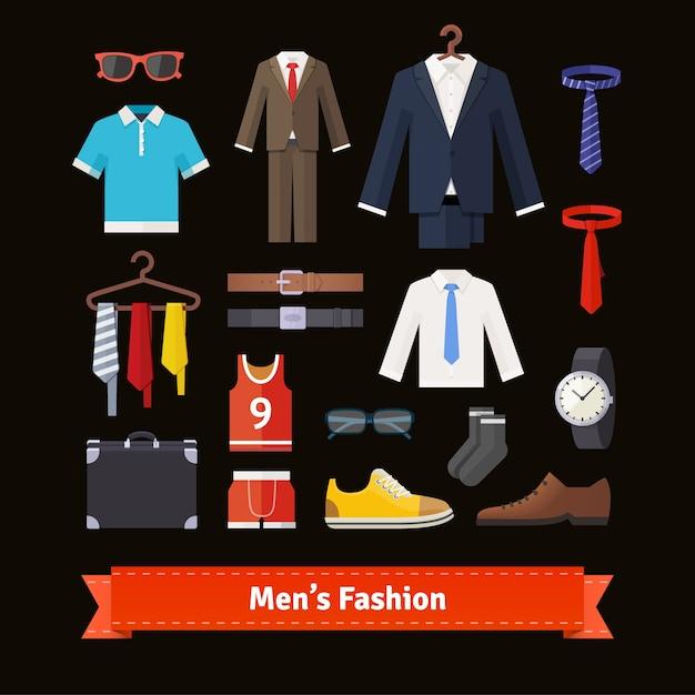 Los hombres de moda conjunto de iconos de colores plana vector gratuito