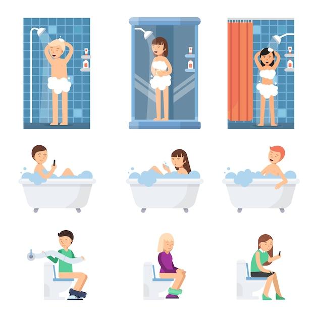 Hombres y mujeres se duchan en el baño. ilustraciones planas de pueblos planos. Vector Premium