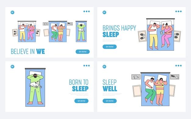 Hombres y mujeres duermen en la cama en casa Vector Premium