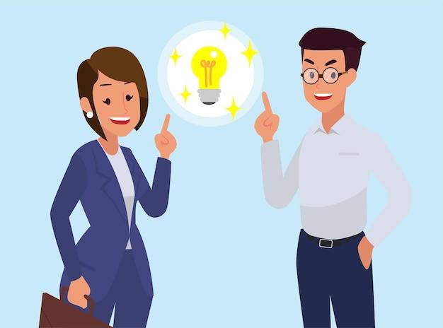 Los hombres y mujeres de negocios ayudan a pensar en ideas de trabajo. vector gratuito