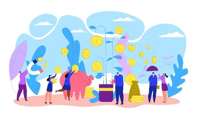 Hombres de negocios con el árbol del dinero de las finanzas, ilustración de la inversión de la moneda. el éxito del crecimiento de la planta bancaria, el concepto de beneficio económico. riqueza del banco de divisas, ingresos financieros y ganancias. Vector Premium