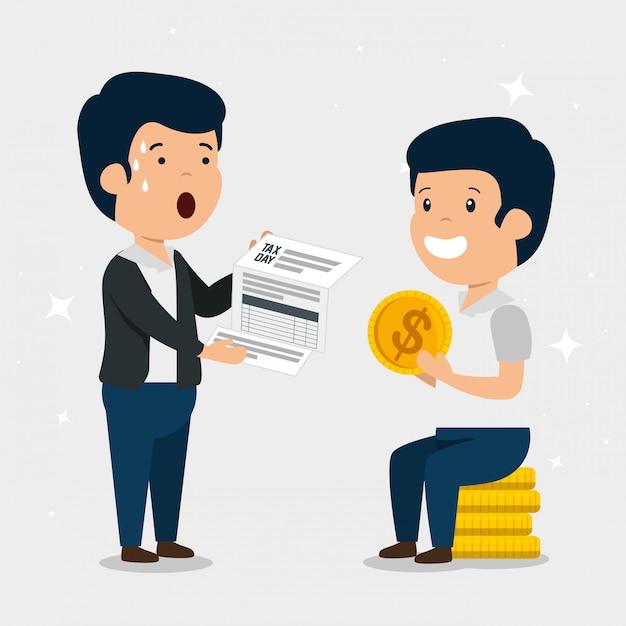 Hombres con servicio de finanzas de impuestos y monedas vector gratuito