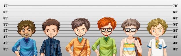 Hombres sospechosos de crimen vector gratuito