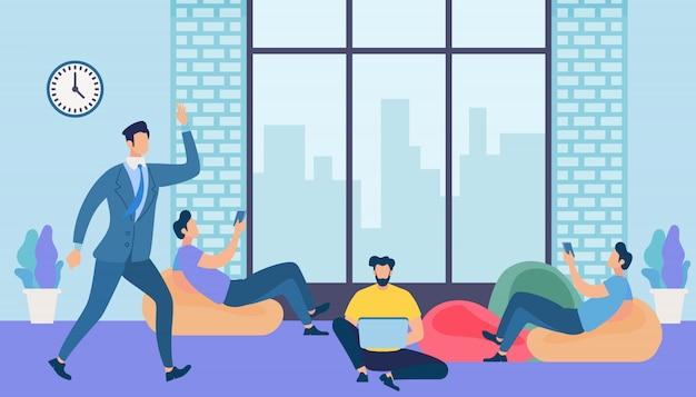 Hombres trabajo y mensajería con gadgets en la oficina Vector Premium