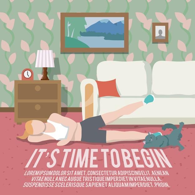 Home entrenamiento fitness poster vector gratuito