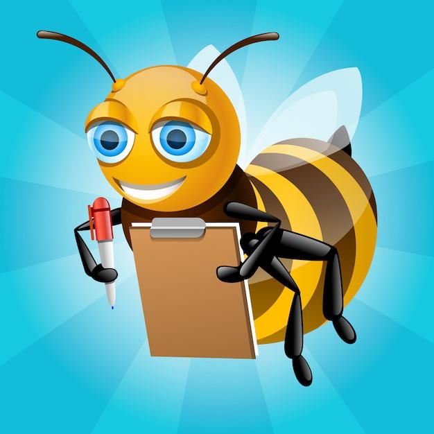 Honey bee escribe en papel Vector Premium