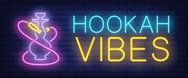 Hookah vibes letrero de neón vector gratuito