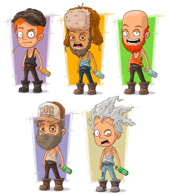 Hooligan de dibujos animados y conjunto alcohólico Vector Premium