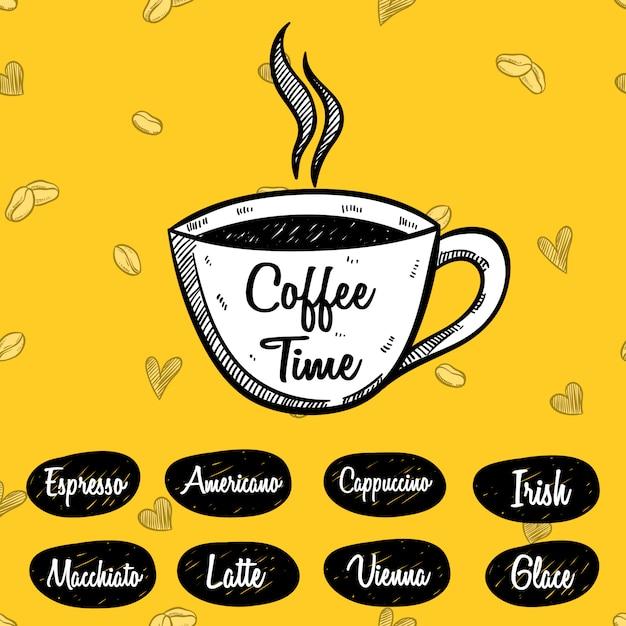 Hora del café o menú de café con estilo incompleto en amarillo Vector Premium