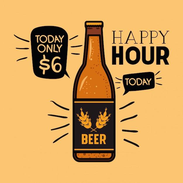 Hora feliz etiqueta de cervezas con botella Vector Premium