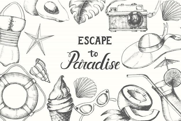 Hora de verano. fondo con verano dibujado a mano doodle símbolos y objetos Vector Premium