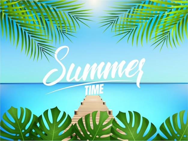Hora de verano. ilustración de verano con palmeras, muelle y mar Vector Premium