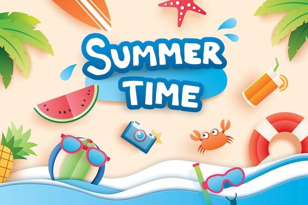 Hora de verano Vector Premium