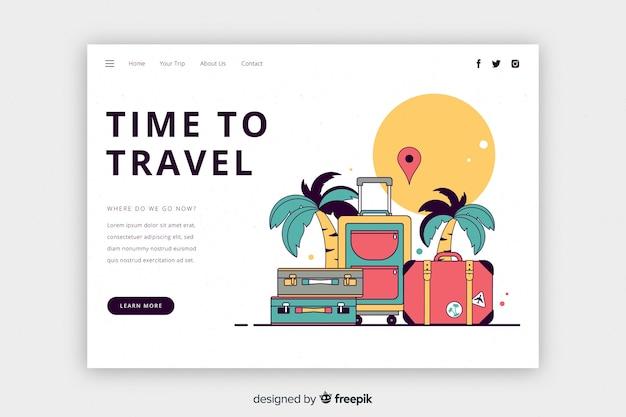 Hora de viajar a la página de destino vector gratuito