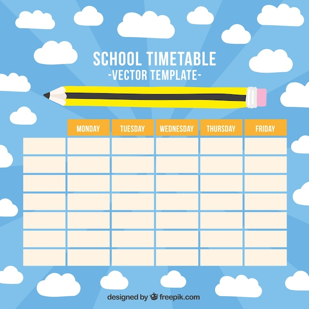Quotes On School Time Table: Horario De La Escuela Con Un Lápiz Dibujado A Mano