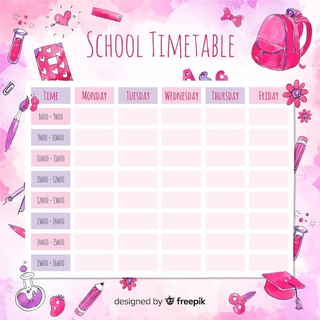 Horario escolar en acuarela con elementos vector gratuito