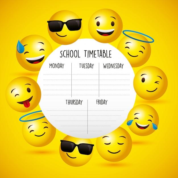 Horario escolar entre emojis Vector Premium