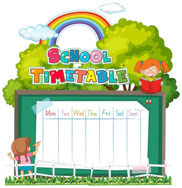 Horario escolar vector gratuito
