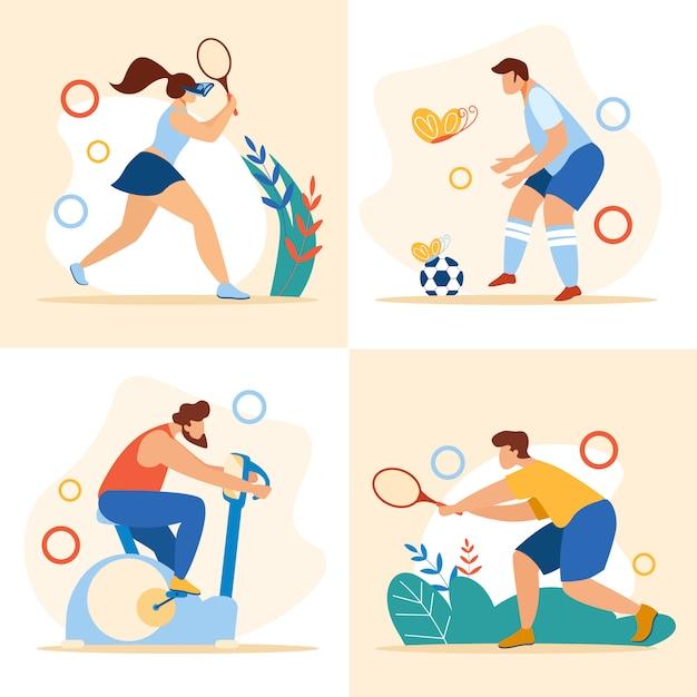Horario de verano actividades deportivas conjunto ejercicios deportivos Vector Premium