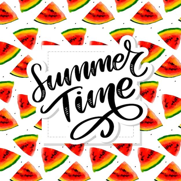 Horario de verano sandía acuarela de patrones sin fisuras, pieza jugosa, composición de verano de rodajas rojas de sandía. obra .. para ti s. Vector Premium