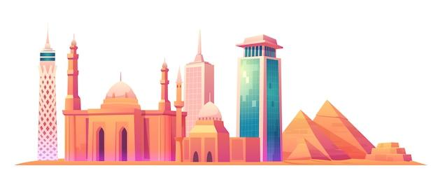 Horizonte de el cairo, egipto con lugares de fama mundial vector gratuito