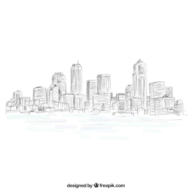Horizonte de la ciudad esbozado vector gratuito